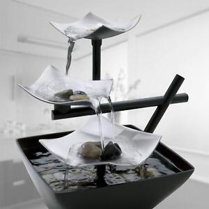 Tabletop Fountain Waterfall Indoor Outdoor Electric Water Pump 3 Tier Small New