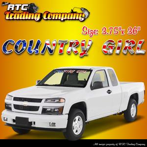 Country Girl American Flag Design Windshield Vinyl Decal Sticker - Country girl custom vinyl decals for trucks