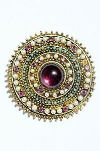 Vintage-Signed-ART-Enamel-Jelly-Belly-Purple-Jewels-Round-Pin-Brooch-Faux-Pearls