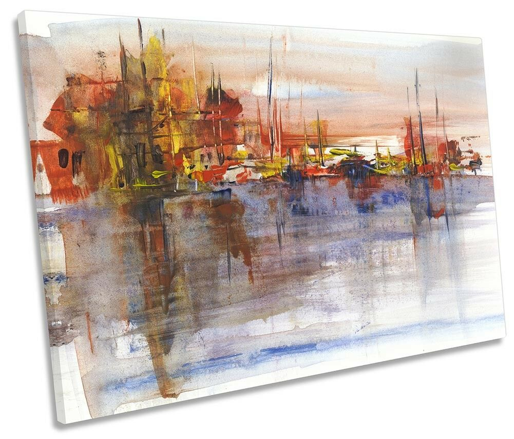 Puerto barcos de de de vela Lona única Abstracto Parojo Arte de Impresión de la obra de arte a80569