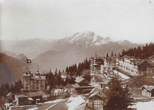 Inquiet Photo Originale Env. 11x15 Cm Suisse Rigi Kaltbad Monde De Montagnes Um 1900 Convient Aux Hommes, Femmes Et Enfants