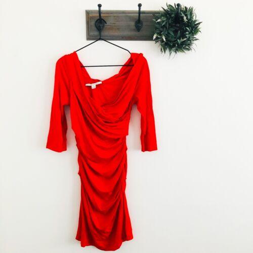 DVF Red Bentley Short Short Ruched Dress M