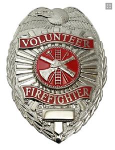 Volunteer Fire Fighter Metal Badge, Silver Color #4185N