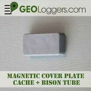 NEW-Magnetic-Cover-Plate-Bison-Tube-Geocache-Cache-Container-3-Cache-Logs