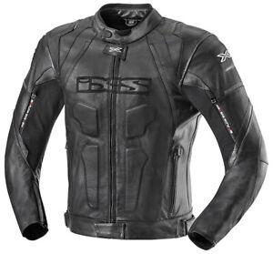 IXS-Lederjacke-Darren-Schwarz-Gr-52-Motorradjacke-aus-Rindsnappaleder