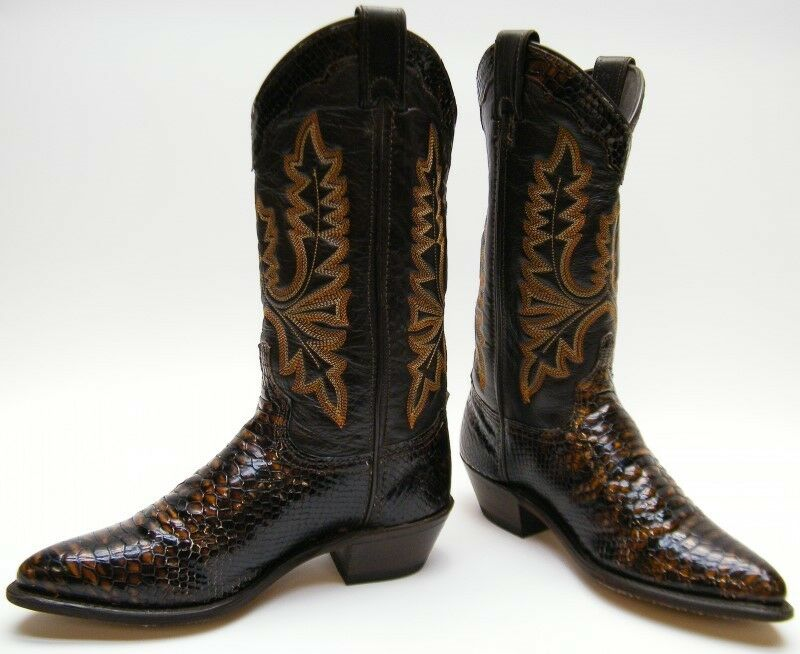 Damenschuhe VINTAGE SNAKESKIN PRINT BROWN COWBOY WESTERN Stiefel USA SZ 6 M MADE IN THE USA Stiefel f97969