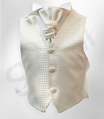 Page Boys Cream Ivory Waistcoat Cravat and Hanky Set, Boys Wedding Waistcoats