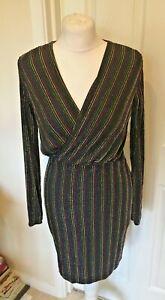 Nouveau-Debardeur-wrapfront-Rainbow-Glitter-Stripped-mini-robe-Taille-8-10-12-et-14