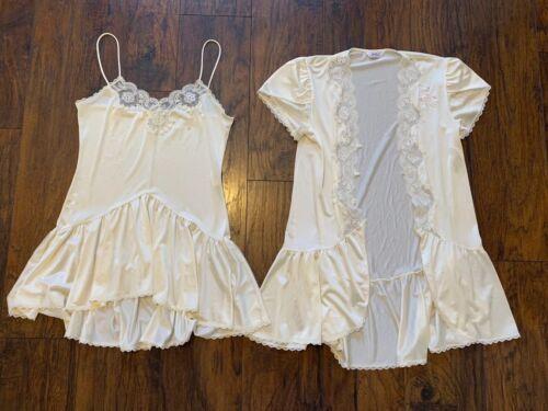 VTG Nightgown Robe Peignoir S Lingerie Slip Lace I