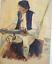 Gemaelde-Aquarell-Mann-mit-Pfeife-signiert-um-1915 Indexbild 2