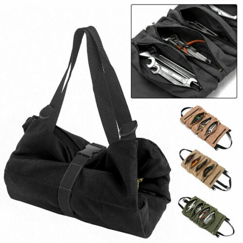 Tool Roll Up Bag Organizer Pouch Canvas Wrench Storage Carrier Car Back Seat