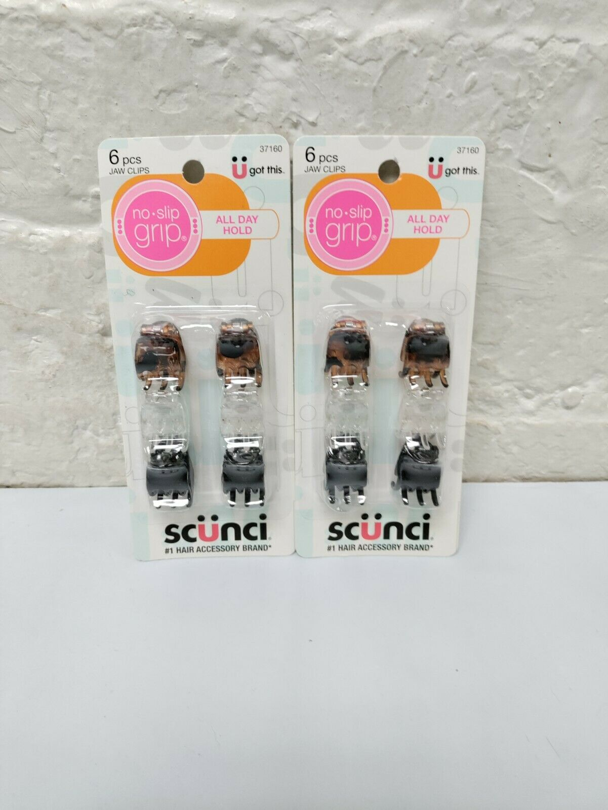 ( LOT OF 2 ) Scunci Hair Jaw Clips ( 6 pcs Each ) 37160 Claws 5/8