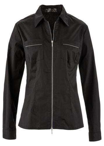 Camicia accattivante con 2 vie con zip in nero-Tg 38-q3901-928651