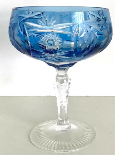 1 NACHTMANN TRAUBE AZURE BLUE CASED CUT TO CLEAR CRYSTAL SAUCER CHAMPAGNE signed
