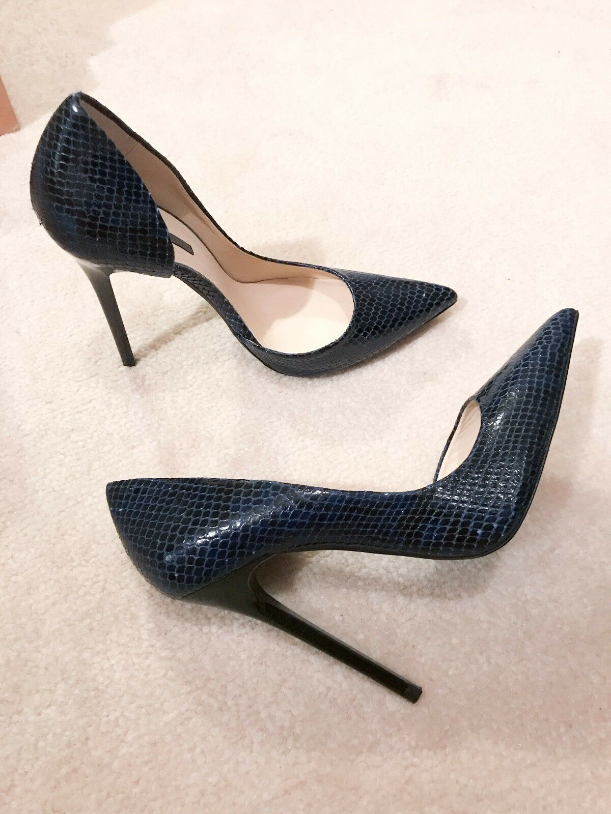 Zara New Navy Snakeskin Leather D'Orsay High Heel Asymmetrical Court Pumps 40
