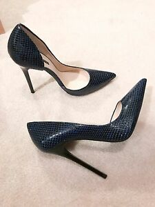 95c9927d1525 Zara New Navy Snakeskin Leather D'Orsay High Heel Asymmetrical Court ...