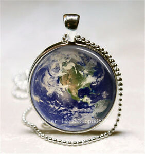 Vintage-Earth-Cabochon-Silver-plated-Glass-Ball-Chain-Pendant-Necklace-h37
