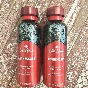 Old Spice Krakengard Body Spray Refresh One spray Last All Day 5.1oz Lot 2 NEW