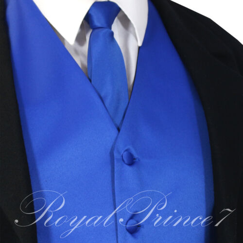 ROYAL BLUE Solid Tuxedo Vest Waistcoat and Neck tie Prom Wedding Party 10-I