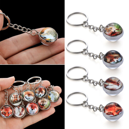 Gift Jewelry Double Side Fox Pattern Keychain Cabochon Keyrings Glass Ball