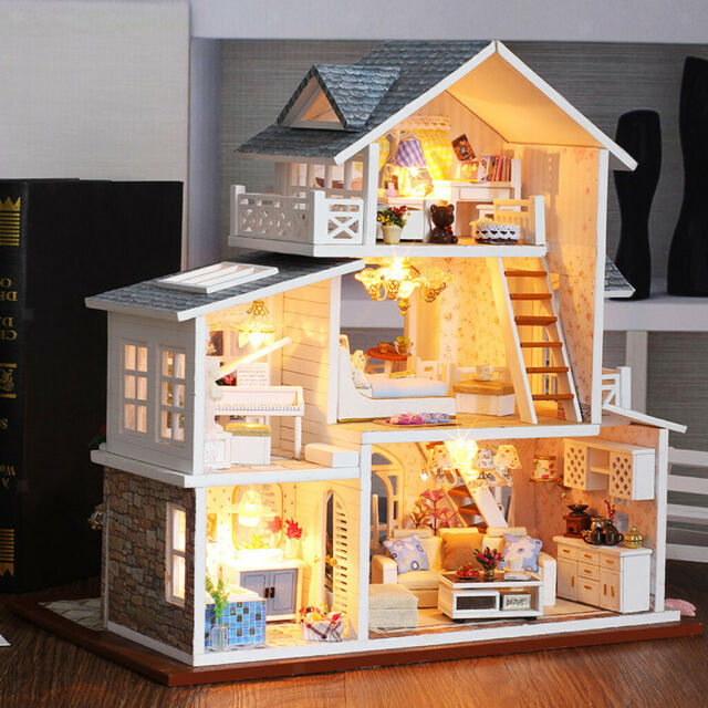 Fai Da Te In Miniatura Casa Di Bambole In Legno Kit Led Mobili Scatola