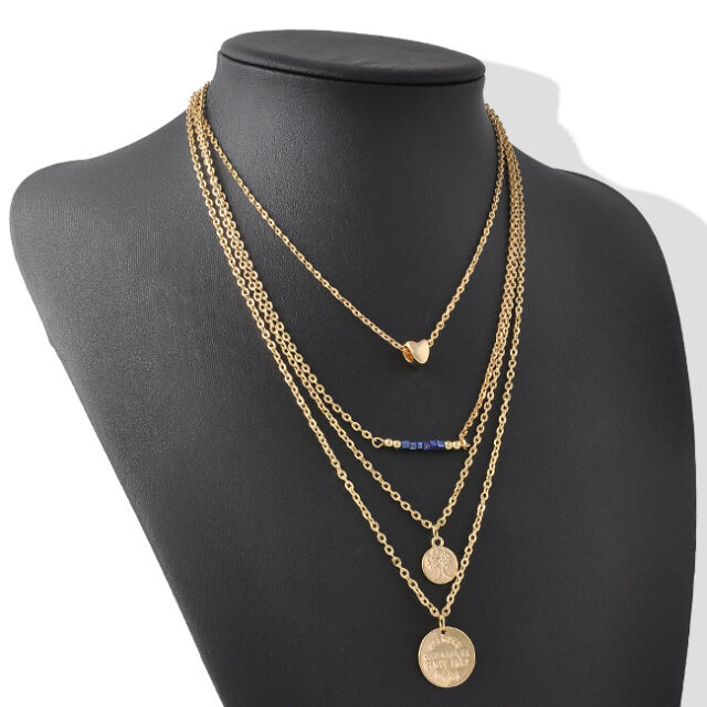 Vintage Women Gold Chain 4 layer Chunky Statement Pendant Choker Necklace