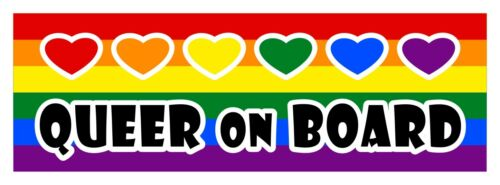 Queer on board LGBT Gay Lesbian diversity decal sticker 3 x 9