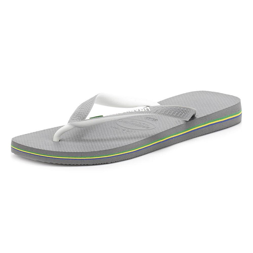 Havaianas Homme Gris Slim Flip Flops, Brasil Logo, Slip On, Casual Beach Shoes