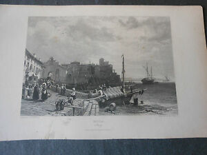 1833-MOLA-DI-GAETA-BELLA-INCISIONE-SU-ACCIAIO-DA-UN-DIPINTO-DI-J-D-HARDING