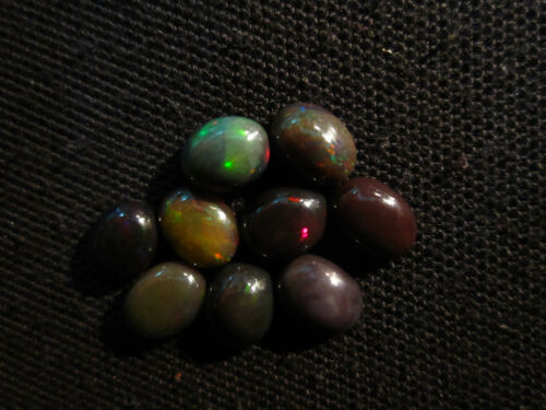 Details about  /10 Ct Natural Fire Play Welo Ethiopian Black Opal Cab Size 7X9 MM BOC16