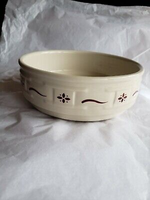 """Longaberger Woven Traditions Pottery 6½/"""" Traditional Red Dessert bowl Ohio USA"""
