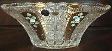 """Bohemia Crystal Handcut 12"""" Oval Bowl With Gold Painting, Czech Republic"""