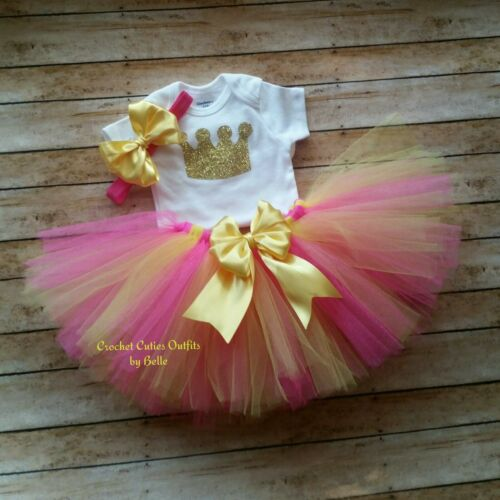 Birthday Girl Cake Smash Personalized Hot Pink Tutu Baby Girl Photo Prop Outfit