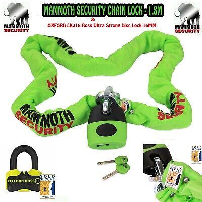 MAMMOTH LOCM003 1.8m CAT 3 CHAIN /& LOCK OXFORD SCREAMER DISC LOCK.SCURITY