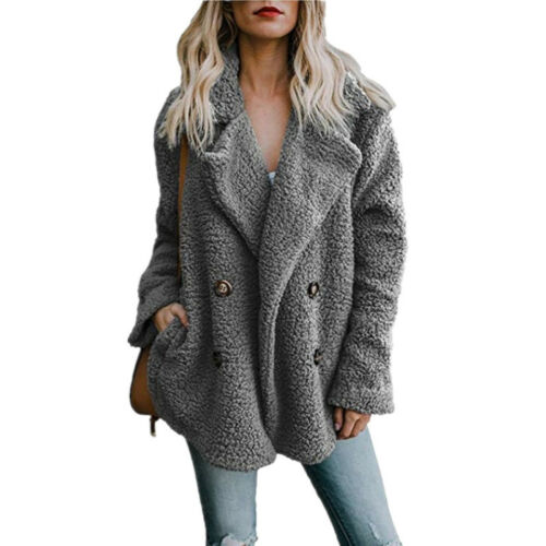 Women Warm Teddy Bear Pocket Fluffy Coat Outwear Long Sleeve Casual Jackets Tops