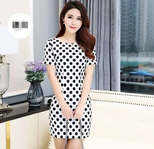 0c17c4858bc Casual Korean Fashion Short Sleeve Crew Neck Slim Polka Dot Sweet ...