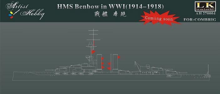 1 700 Artist Hobby HMS Benbow i WWI (1914-1918) Uppställning för uppkvalitetringa