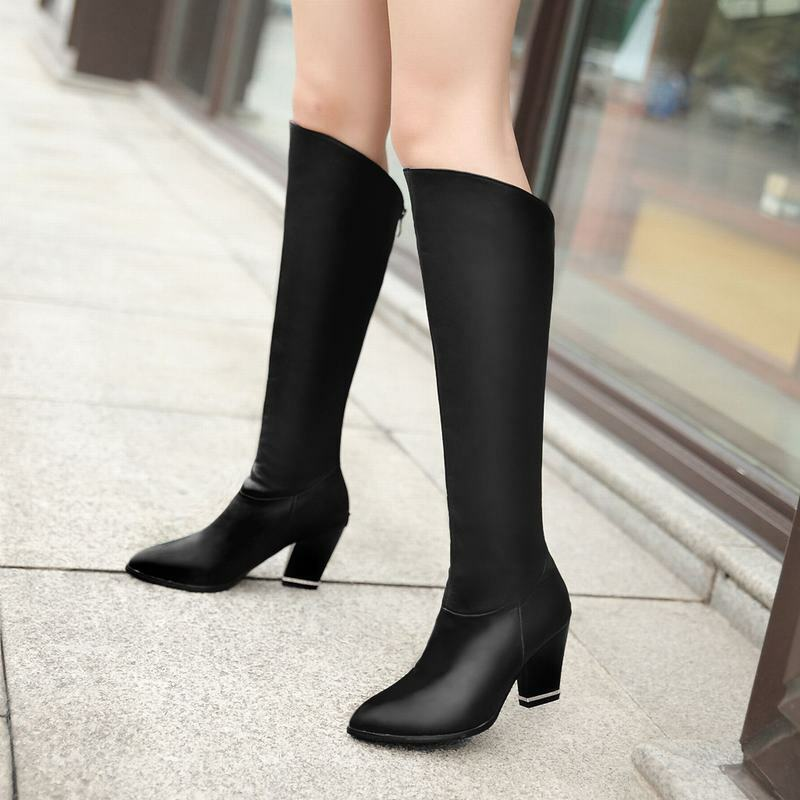 Grace Ladies Back Zip Pointy Toe Block Heels Riding Knee High Boots Casual shoes