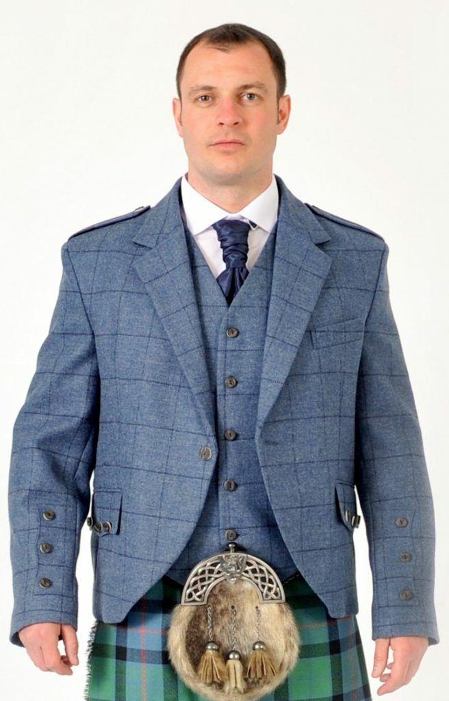 Blue Tweed Crail Jacket & Vest Waistcoat 100% Wool