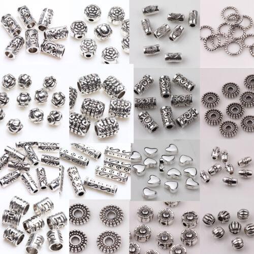 50//100Pcs Tibet Silver Loose Spacer Beads Charm Pendant Jewelry Making Craft DIY