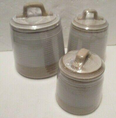 3 Pc Hobby Lobby Granja Juego De Bote Decorativo Crema Rayas Nuevo Ebay