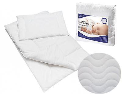 Bene Baby Trapuntato Piumone & Cuscino 100% Cotone Per Il Riempimento Set Per Culla O Carrozzina-
