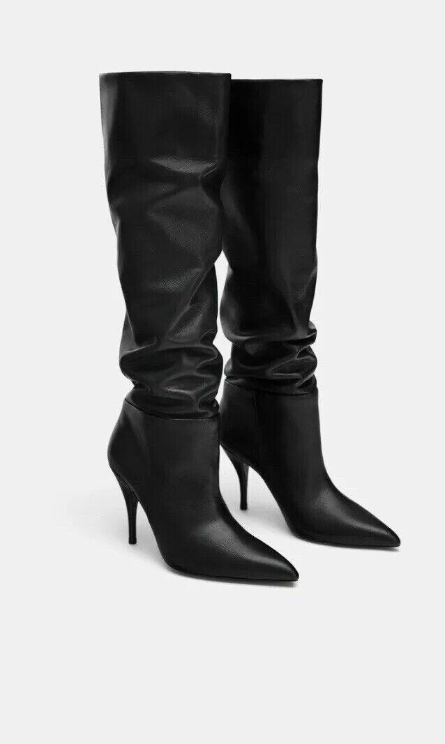Zara Black Black Black Real Leather Stilleto High Heel Boots, Size 5- BNWT, RP 215228