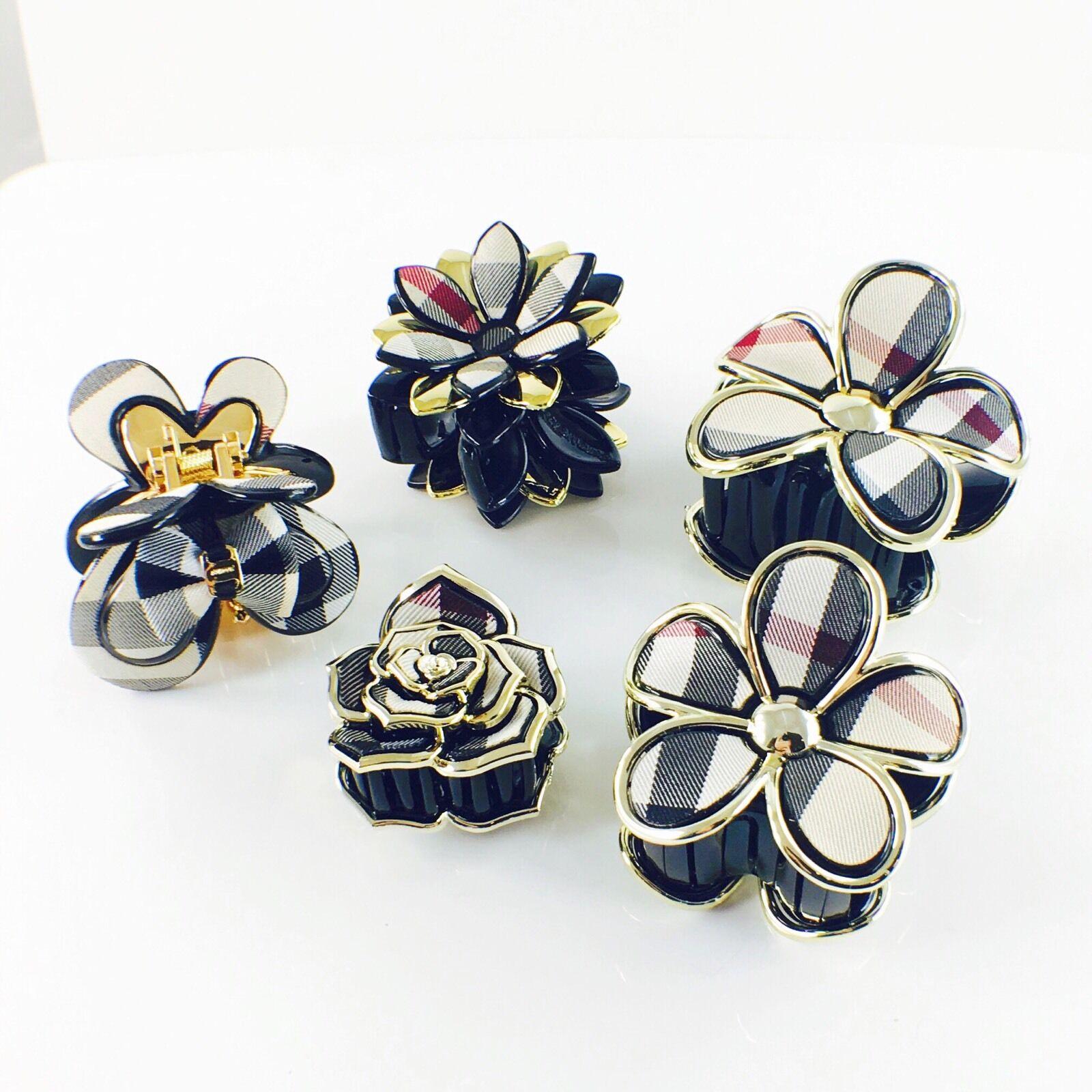 USA Quality Acrylic Fabric Hair Claw Clip Hairpin Handmade Flower Rose A05