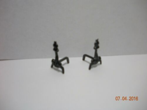 DOLLHOUSE MINI HALF INCH  SCALE FIREPLACE ANDIRONS IN BLACK