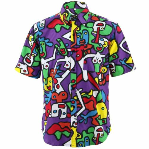 Camicia da uomo forte Originali Regular Fit Danza Viola Retro Psichedelico Costume