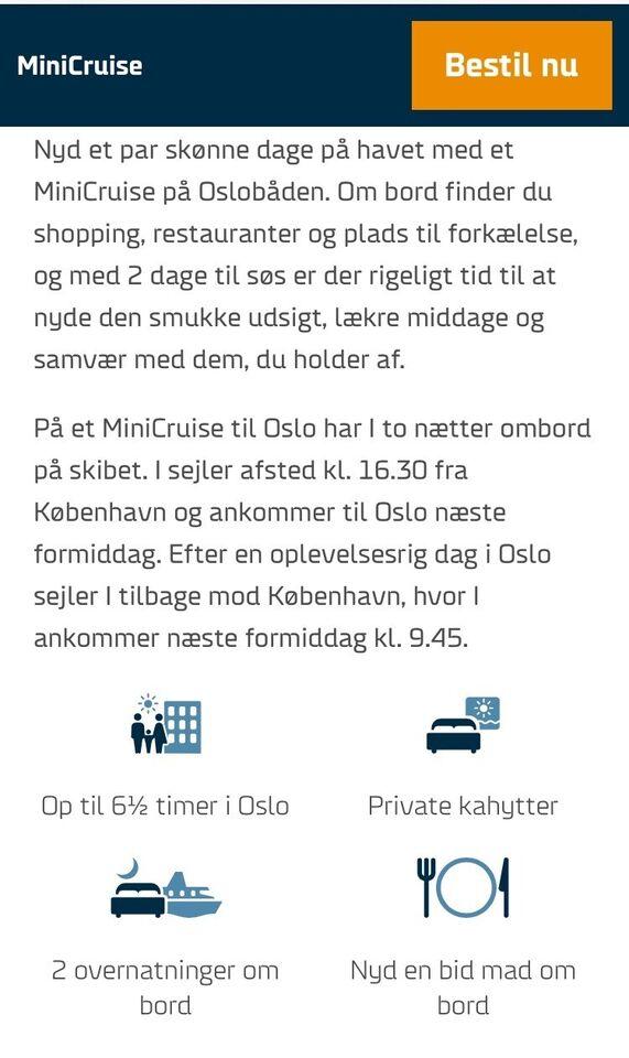 Minicruise fra København til Oslo fredag d. 13/...