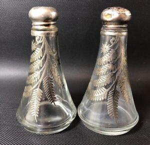 Silver-City-Fern-amp-Starburst-Pattern-OVERLAY-Salt-amp-Pepper-Shaker-Set-6C