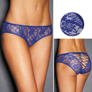 Blue-Rose-Lace-Panties-Briefs-Women-Lingerie-Underwear-Lace-Up-Corset-Back-M-3XL