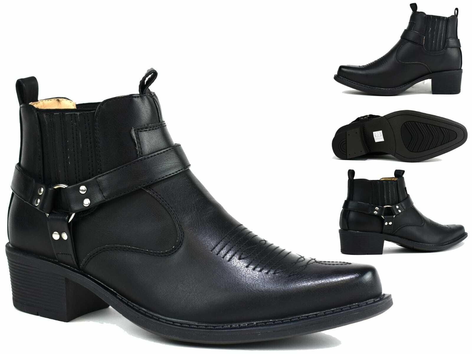 Men/Gents Smart Buckle Chain Cowboys Cuban Heel New Boots UK Size 6-11